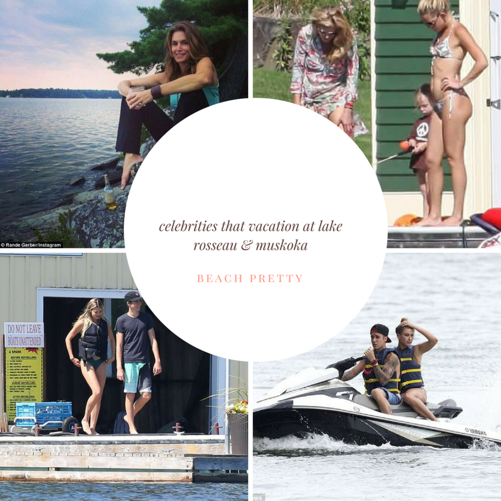 Lake Rosseau and Lake Muskoka in Canada is a hot spot for celebrities. Clockwise from left: Cindy Crawford, Kate Hudson, Justin Bieber and Haley Baldwin, and Harry Stiles.