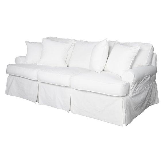 White Slipcovered Sofa