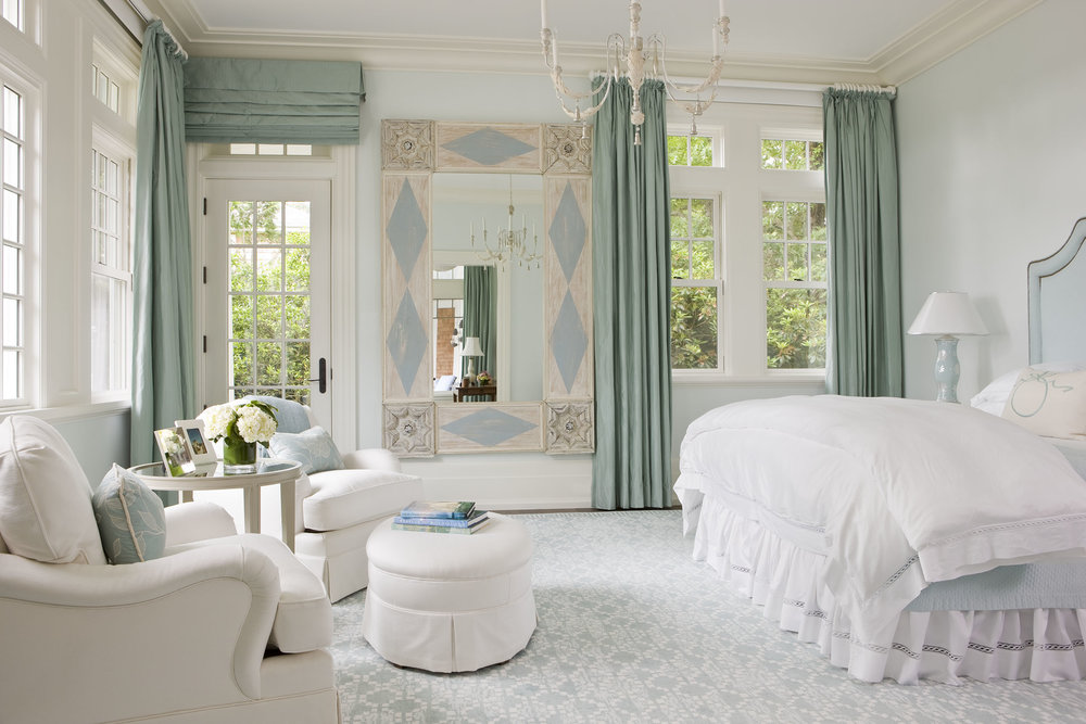This master bedroom is so soft and pretty, I love all the windows in this house, and that mirror is to die for!