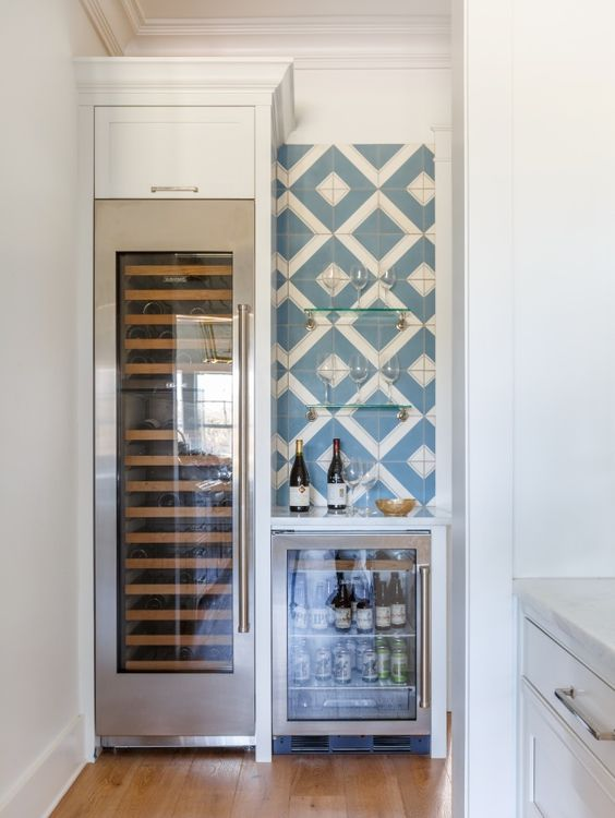 Kitchen splurge, built in wine refrigerator and bar..a must for any dream home!