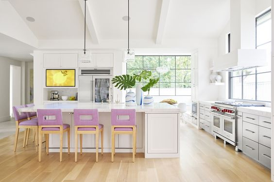 A Modern Beauty of a Kitchen…The Deep Lilac Kitchen Stools are Exquisite. Via