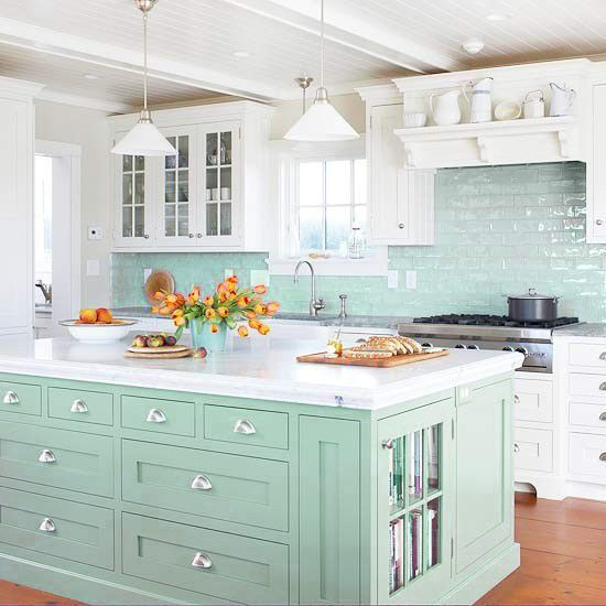 How Pretty is the color of Kitchen Island? …and I love the Cabinet Hardware. ..seriously this Kitchen is a Breath of Fresh Air.  Via