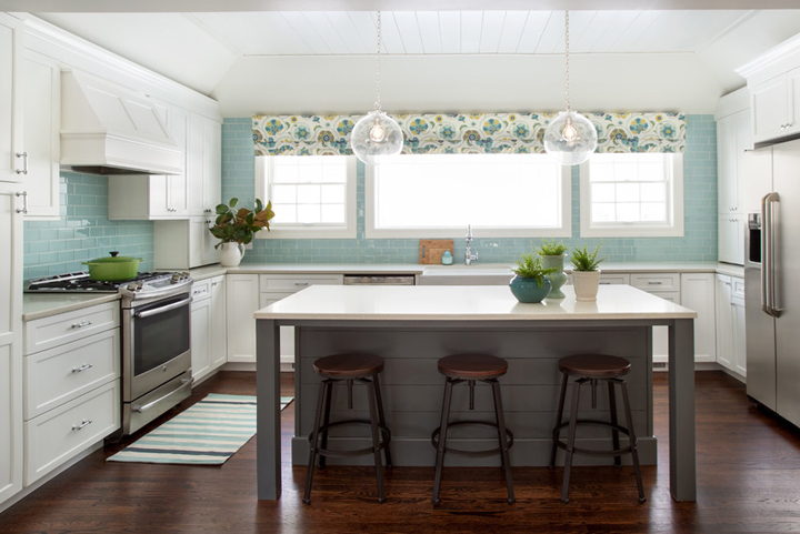 I love a roman shade in a kitchen, pick out a pretty fabric and find a local seamstress and voila…you have a beautiful window treatment that has your signature look.