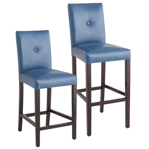 Blue Leather Counter Chairs