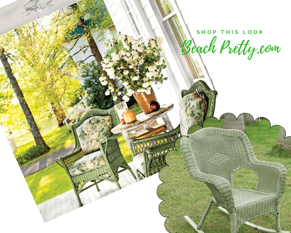 Fall Afternoons: 1.  Green Wicker Rocking Chair