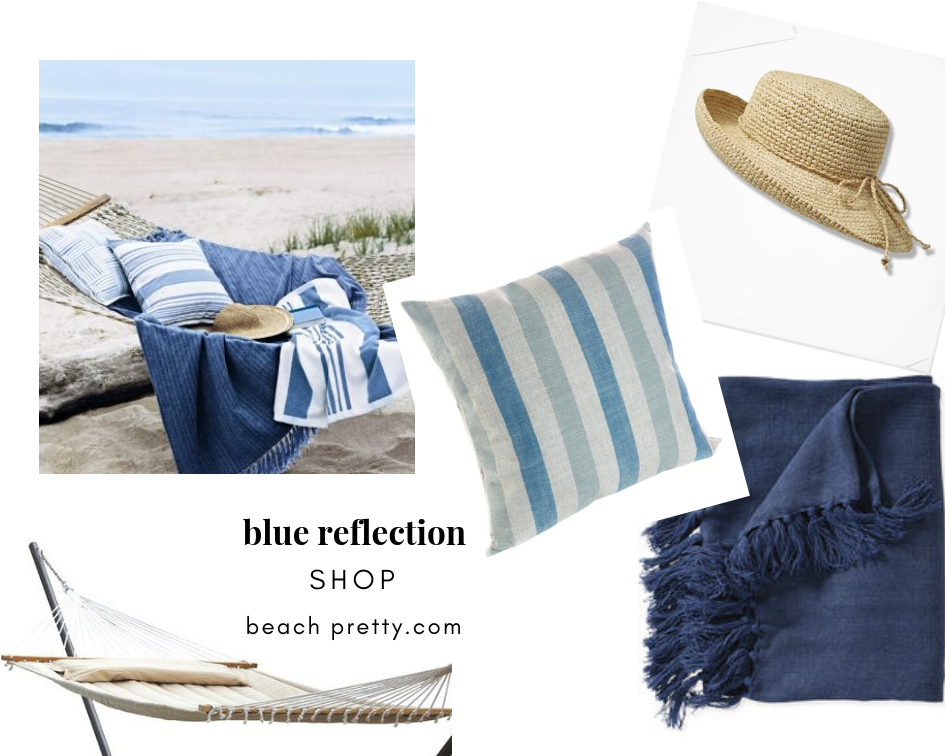 Siesta by the Bay: Clockwise-1. Straw Hat 2.  Blue Throw  3 . Striped Pillow  4.  Hammock