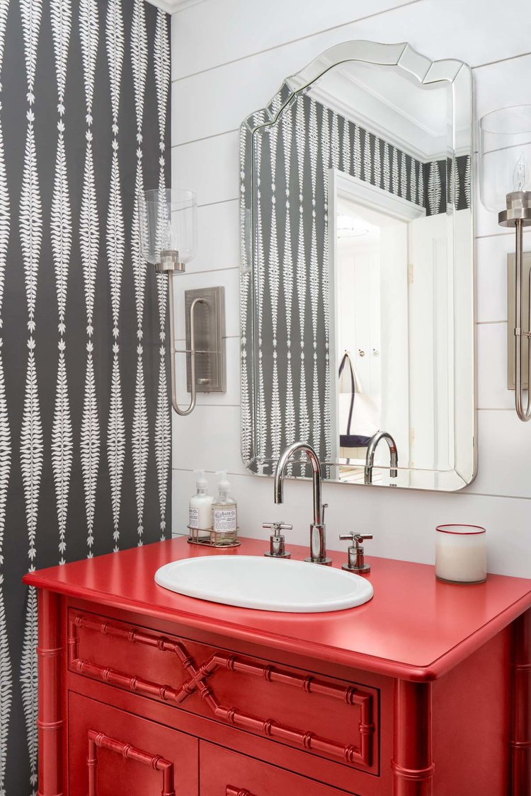 I love the detail in this red bathroom vanity.