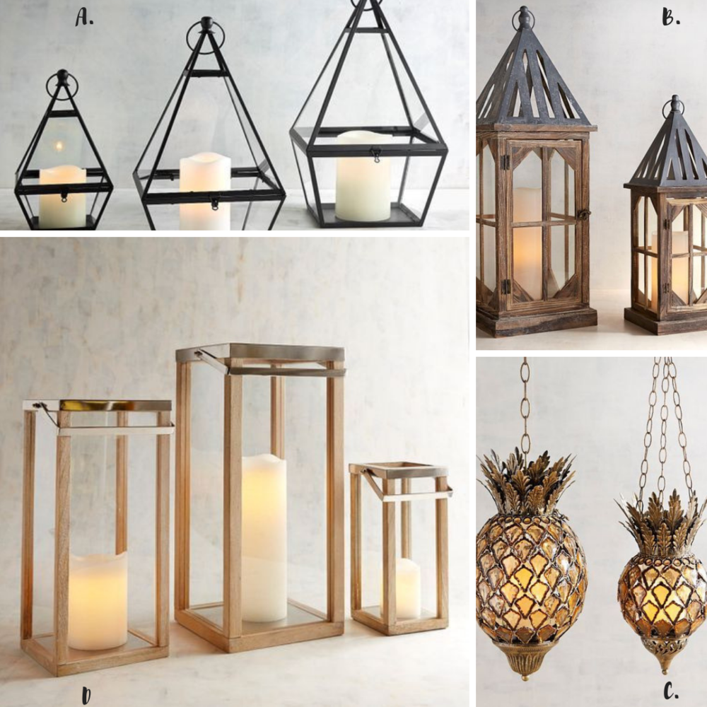Shop Our House Style: A.  Triangle Lanterns  B.  Hand-Painted Lanterns  C.  Pineapple Hanging Lantern  D.  Rectangle Wooden Lanterns
