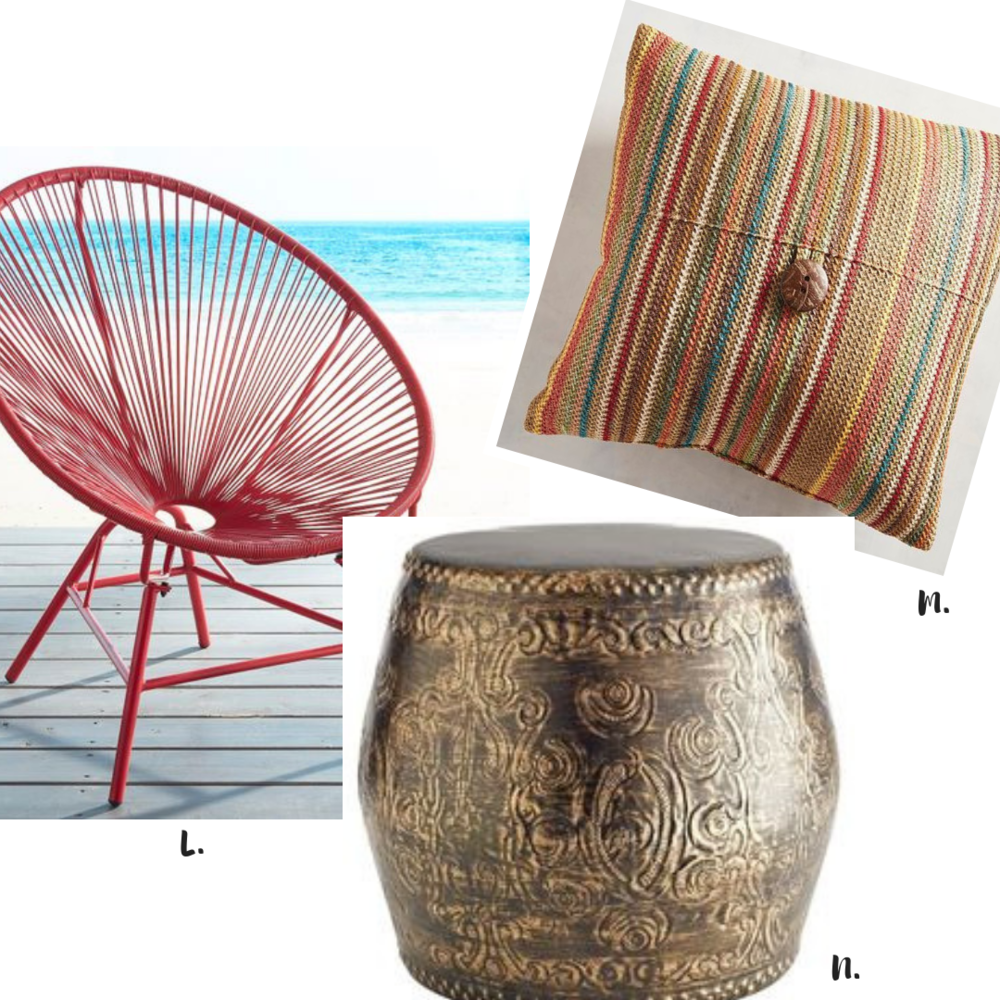Shop Our House Style: L.  Red Oval Chair  M.  Striped Pillow  N.  Round Bronze Garden Stool