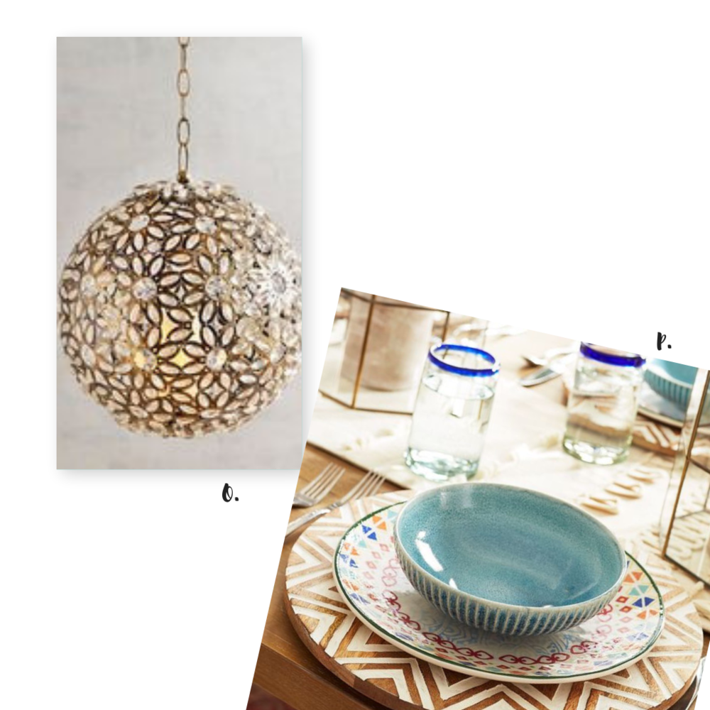Shop Our Style: O.  Caravan Ball Hanging Lantern . P.  Hand-Carved Charger Plate