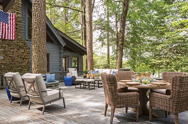 This Porch is Like Two Rooms in One..A Relaxing Sitting Area and a Pretty Dining Area Overlooking the Lake.