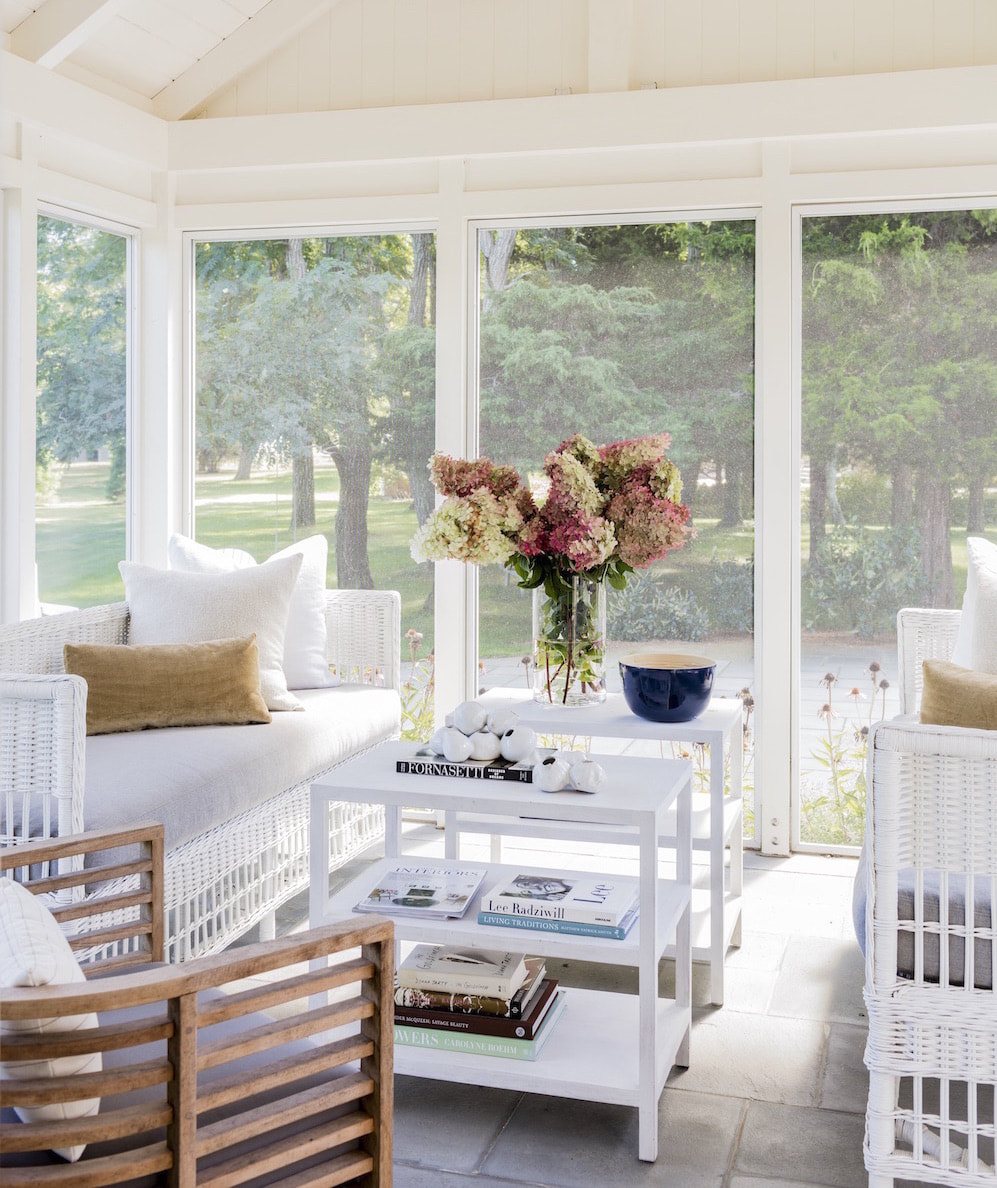 Something so Pretty about a White Porch…and to make this Porch even Prettier are the Comfy Pillows and a Bouquet of Lilacs :)
