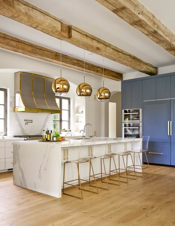 Where your family life happens…might as well build a dream kitchen!  Via  Similar light  here . Similar bar stools  here  and  here .
