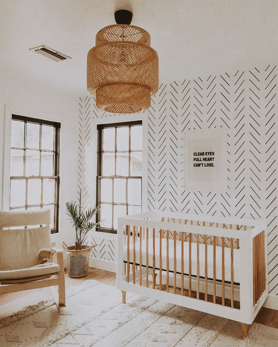 Full heart can't lose…sweet saying  via  Similar pendant light  here . Similar crib  here  .