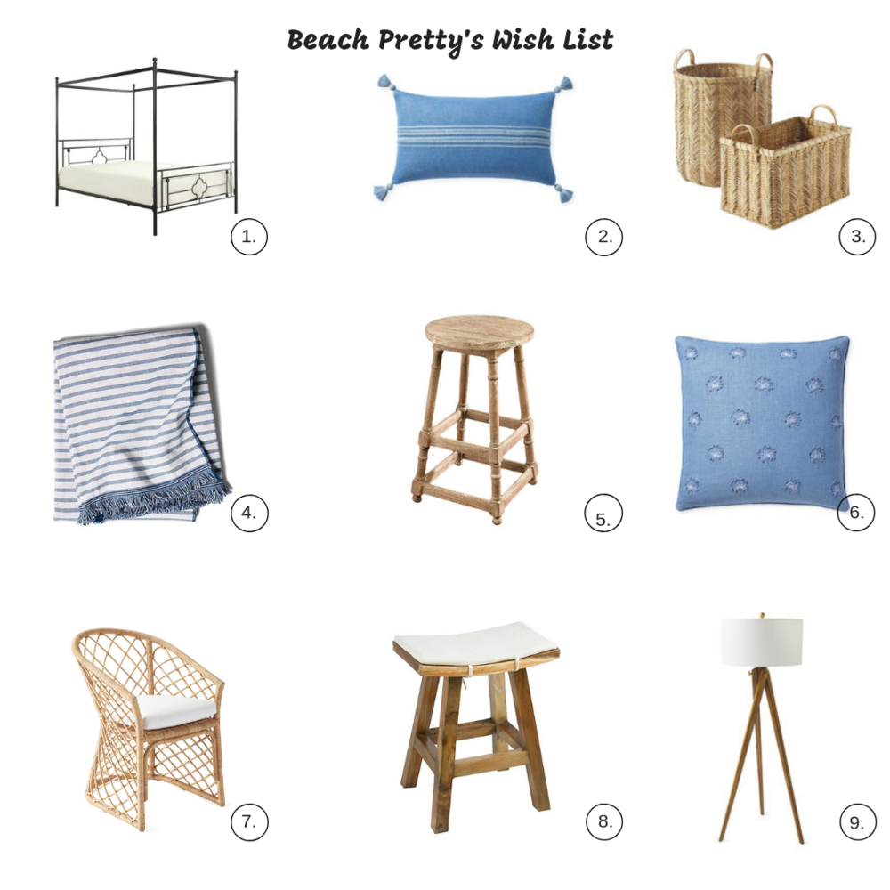 1.  Canopy Bed  | 2.  Blue Pillow | 3.  Baskets | 4.  Striped Towel | 5.  Wooden Stool | 6.  Blue Pillow | 7.  Chair | 8.  Stool | 9.  Lamp