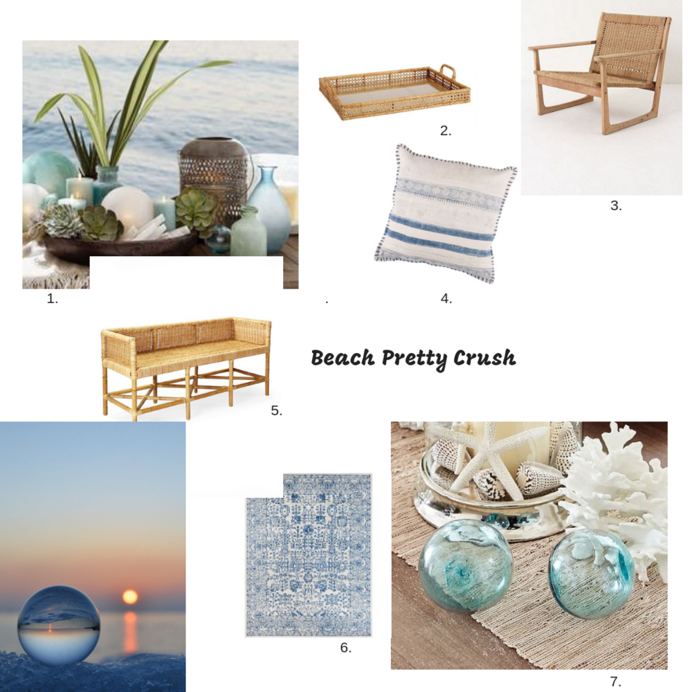 1.  Sea Glasses Vases  |2.  Tray  |3.  Accent Chair  |4.  Pillow  |5.  Shore Bench  |6.  Rug  |7.  Sea Glass Balls