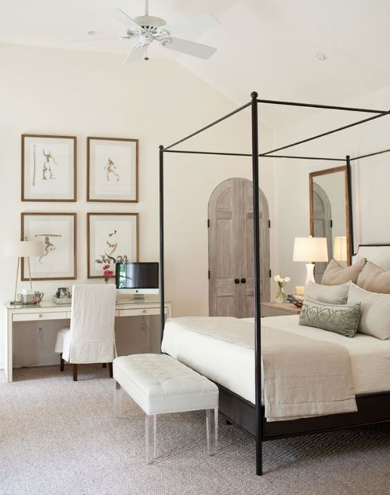 This bedroom is calm and sophisticated.  Via
