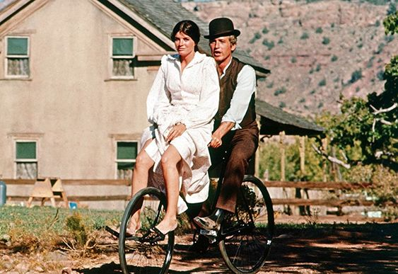 """This is one of my earliest memories of a love story, """"Butch Cassidy and the Sundance Kid"""", Paul Newman plays Butch and Katherine Ross plays Etta…and the song """"Rain Drops Keep Falling on My Head"""" is playing during this iconic scene."""