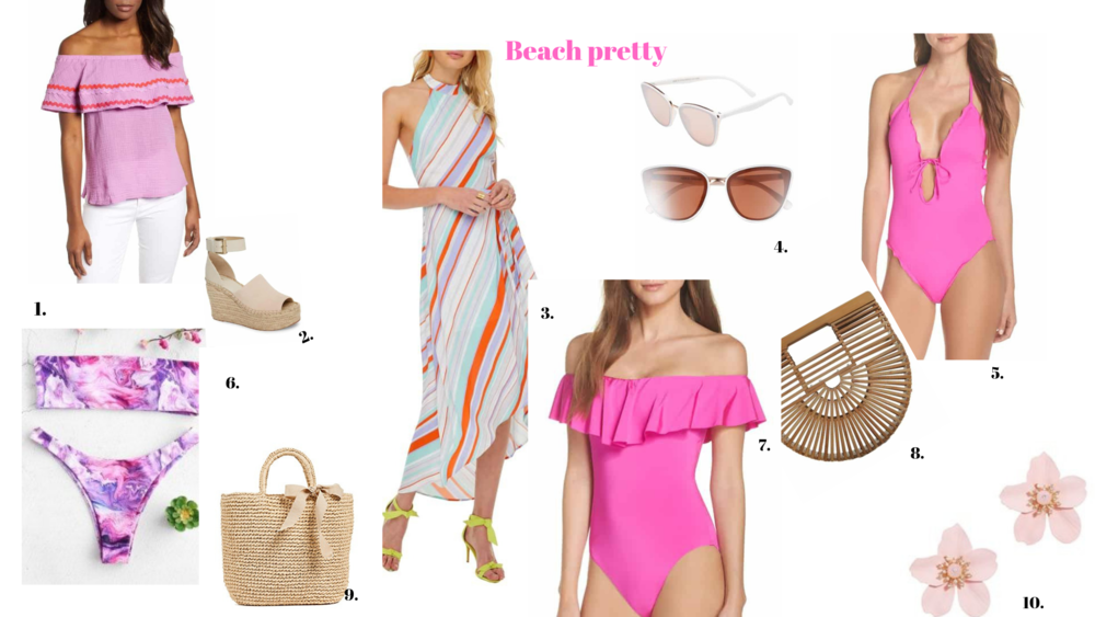 1.  Off Shoulder Blouse  2.  Wedges  3.  Striped Dress  4.  Sunglasses  5.  One Piece Bathing Suit  6.  Bikini  7.  Off Shoulder Bathing Suit  8.  Clutch  9.  Straw Tote  10.  Floral Earrings