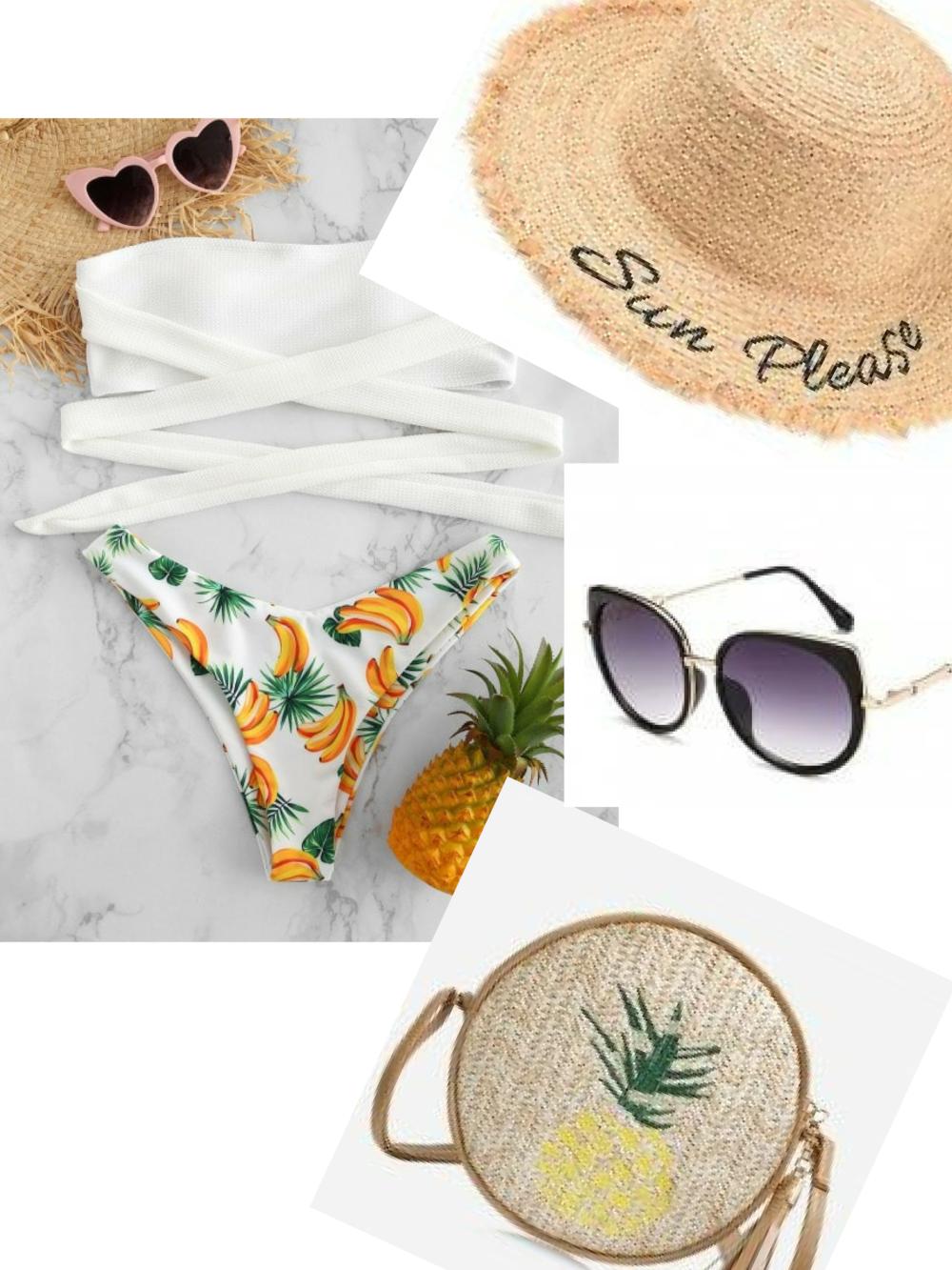 Today's Beach Style Hotlist|  Bikini |  Straw Hat | Sunglasses | Straw Bag