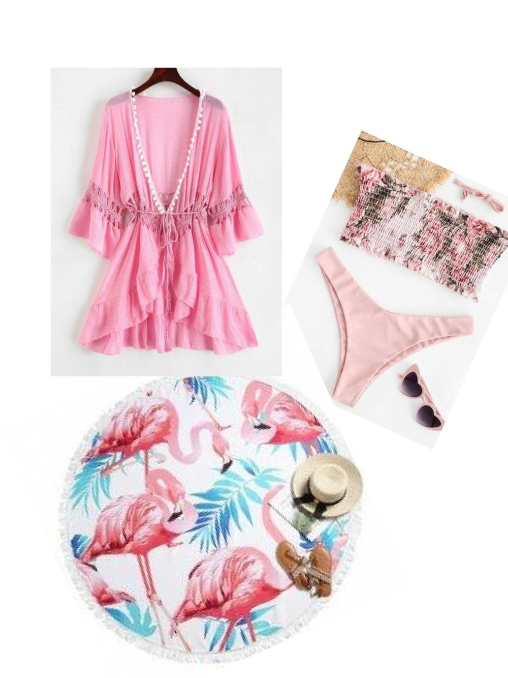 Today's Beach Style Hotlist|  Light Pink Coverup |  Bikini | Round  Flamingo Beach Towel