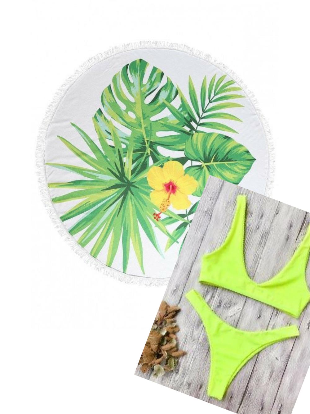 Today's Beach Style Hotlist|  Round Floral Towel|   Yellow Bikini