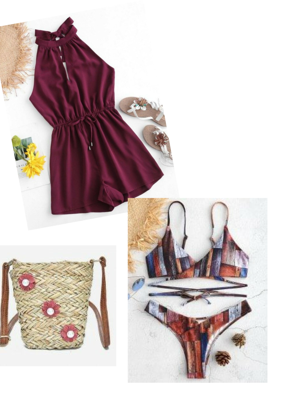 Today's Beach Style Hotlist|  Romper|  Bikini | Straw Bag