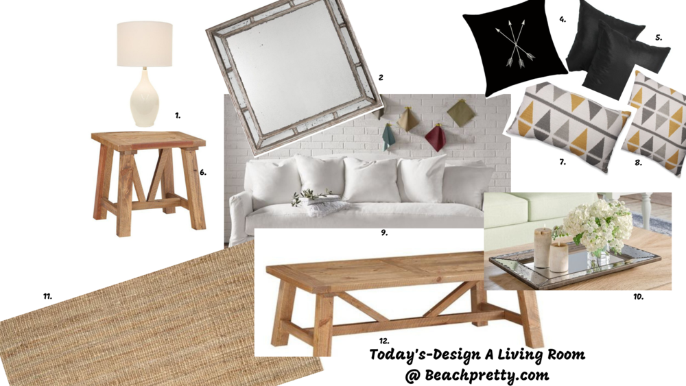 1.  White Table Lamp | 2.  Large Mirror | 4.  Black Arrow Throw Pillow | 5.  Black Throw Pillow | 6.  End Table | 7.  Decorative Oblong Pillow | 8.  Decorative Square Pillow | 9.  White Couch | 10 . Grey Glass Tray | 11.  Natural Area Rug | 12.  Coffee Table