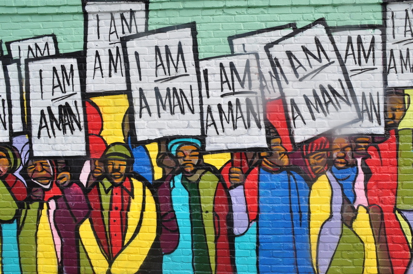 Design Artist: Marcellous Lovelace   Install Team:  BLK75    I Am A Man (#RayGun81 Remix).   Acrylic exterior latex paint on panels.