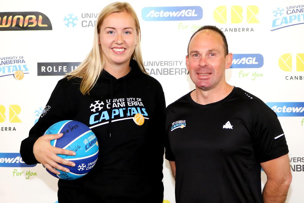 """Rachel Jarry with coach Paul Gorriss. """"I've known 'Gorrie' for a long time"""" she said."""