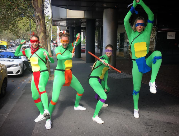 Silly squad: Dandenong Rangers celebrate Turtle Power on Mad Monday. Photo: Instagram, @sarablicavs