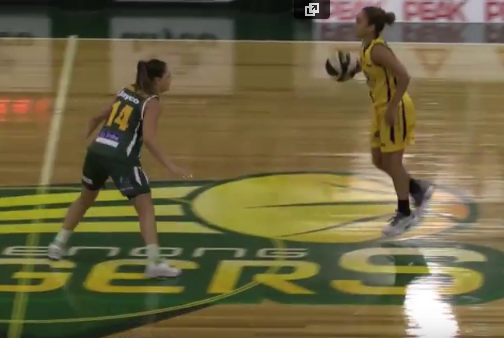 """Todhunter guards Sydney Flames star Leilani Mitchell in last year's grand final. """"She's a bit smaller than me...but she's so tough, and has so much experience"""" Todhunter says."""