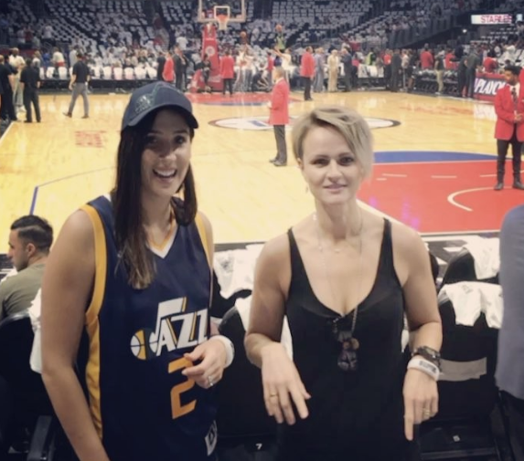 Live Jazz: Hodges with Opals legend Jenni Screen at the NBA Finals. (Photo: Instagram Laura_Hodges11)