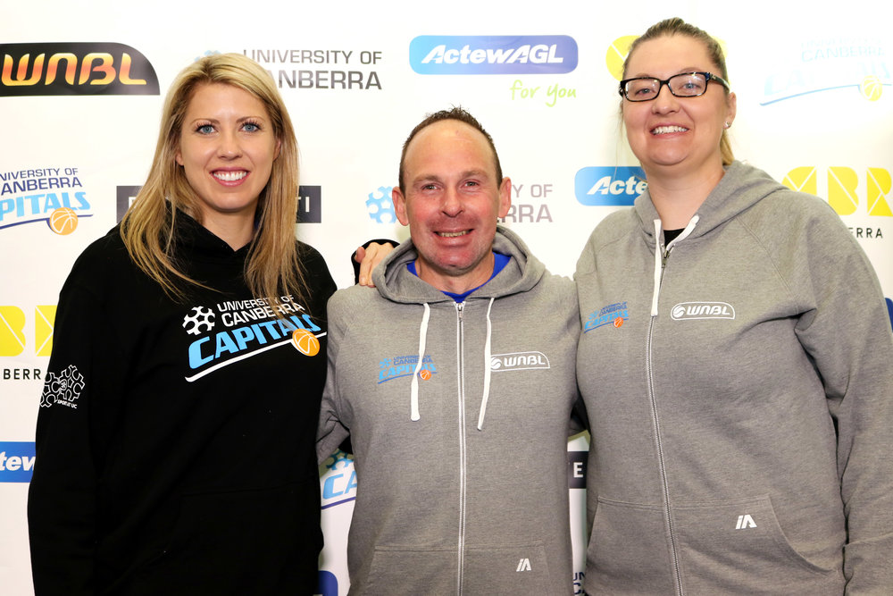 UC Capitals coaching staff: Carly Wilson, Paul Goriss, Peta Sinclair. Photo: Vanessa Lam