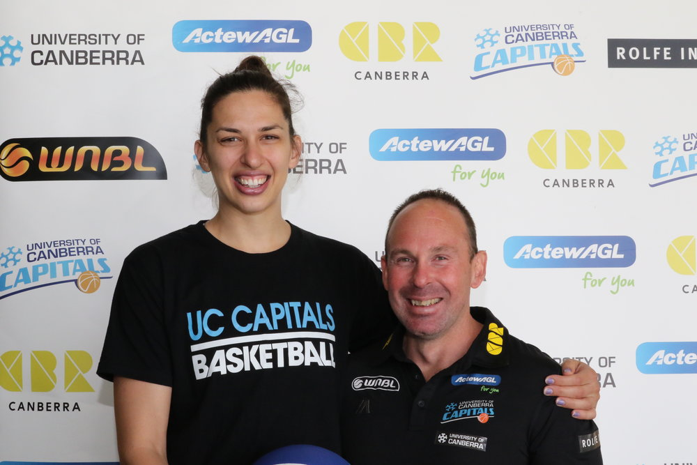 "Tolo reunites with coach Paul Goriss. ""I'm happy to play for him again,"" she says. ""He'll do everything to put the best team forward."" Photo: University of Canberra."