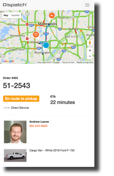 Get same day delivery service with live real time tracking in Minneapolis.