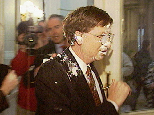 "Bill Gates ""attacked"" with pie-in-face in Belgium circa 1999"