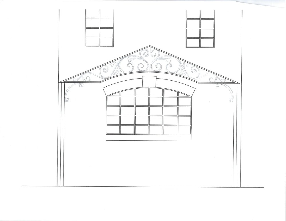 Here is another design sketch of the pergola showing an alternate perspective of  the proposed design.