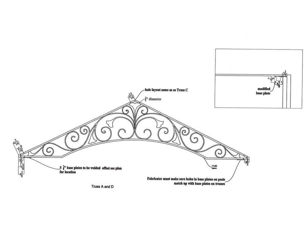 Another elevation drawing of the pergola's trusses.
