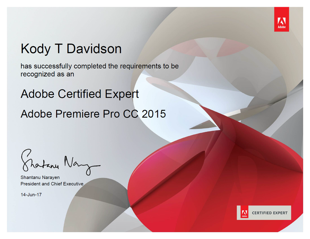Adobe Certified Expert: Adobe Premiere Pro CC - The Adobe Certified Expert (ACE) certification is the industry-recognized validation of one's proficiency in Adobe Premiere Pro CC. This certification requires in-depth knowledge of design elements when preparing video, editing video sequences, refining the visual and audio portions of a project, as well as experience with Adobe Media Encoder and editing in a professional environment.