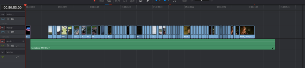 Here is the final Resolve timeline. Not much has changed but I did add a slate back in for colour exports to the team, and I place the final VFX shot in the video moving it down to only one layer.