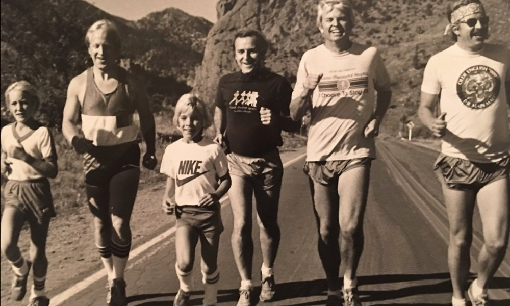 Former Colorado Governor, Dick Lamm (second from right), joins Colorado Cancer Foundation and Run for the Cure Founder & Vice President, Stan Havlick (third from right), and his two sons, Erik (first from left ), and Justin (third from left) in 1981.
