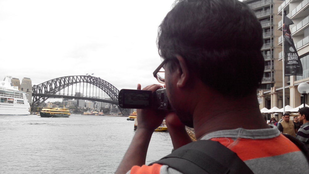 Filming the iconic Harbour Bridge from Circular Quay