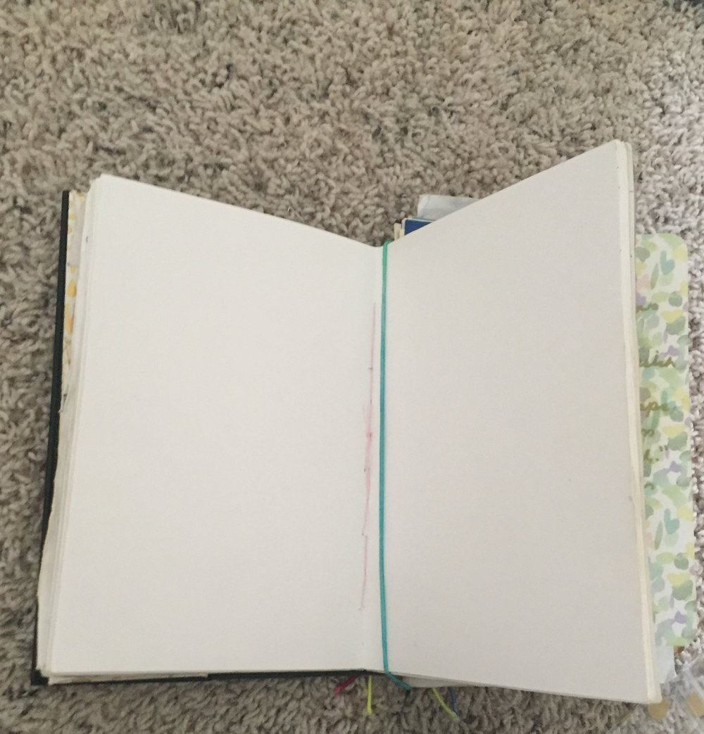 3. Insert your first notebook by placing the elastic band(s) down the center of the spine.  -