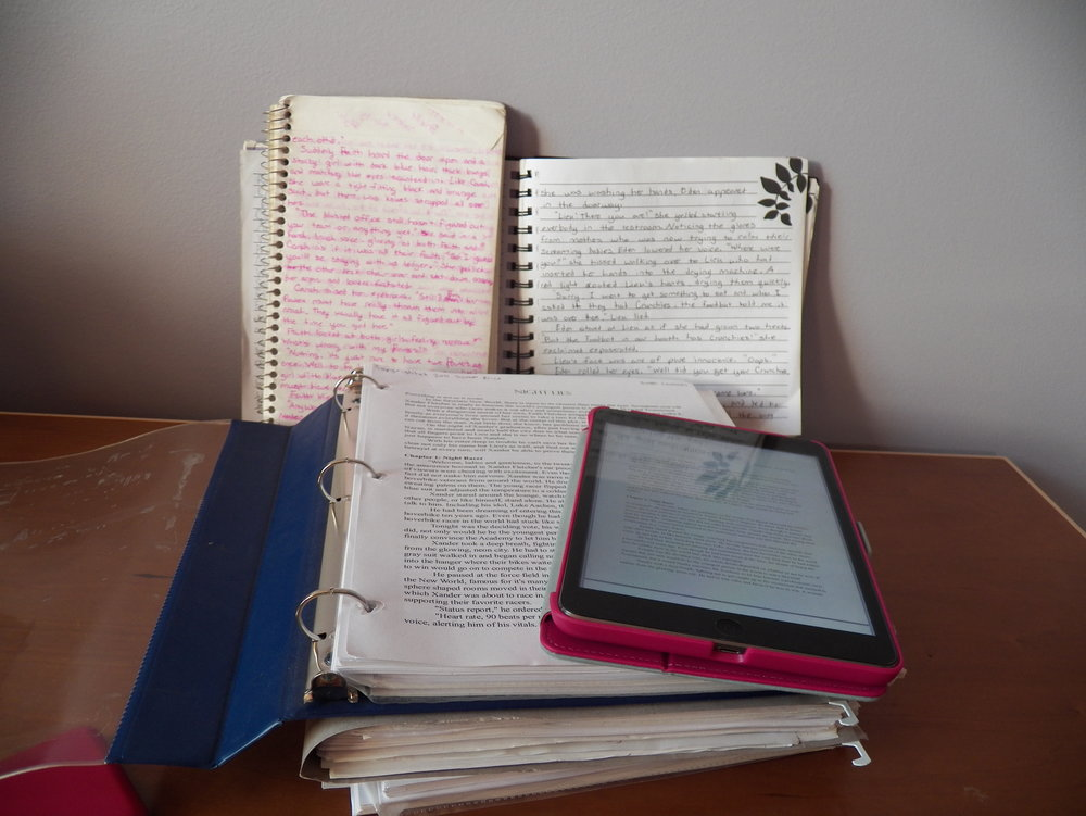 Some of my writing printed out, in notebooks, and on my Ipad.