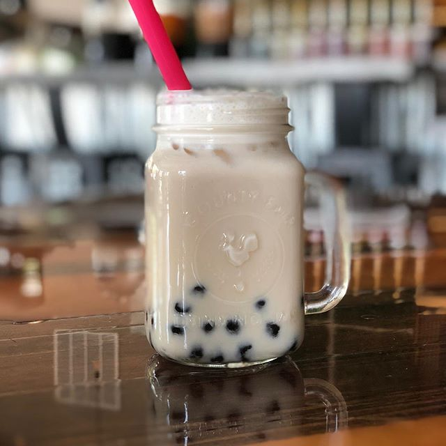 Come try our new flavor of bubble tea on #thirstythursdays #almond-bubble-tea #potb #phoontheblock #localdrinks #kalamazoofoodie #wmu #hip #uban #trendy