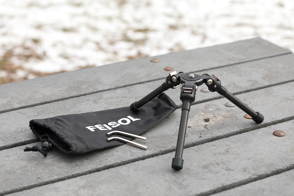 The Feisol TT-15 carbon fiber tripod includes allen keys and a carrying bag