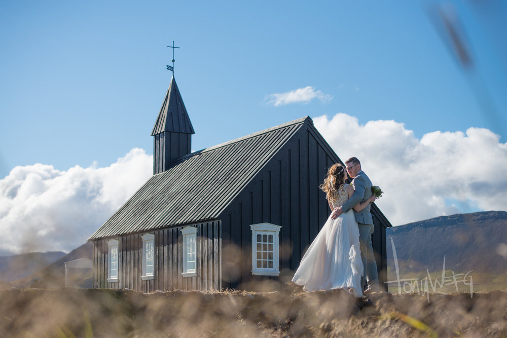 Kirsten and Chad in the shadow of the Black Church of Budîr, on the Snæfellsnes Peninsula on the west side of Iceland