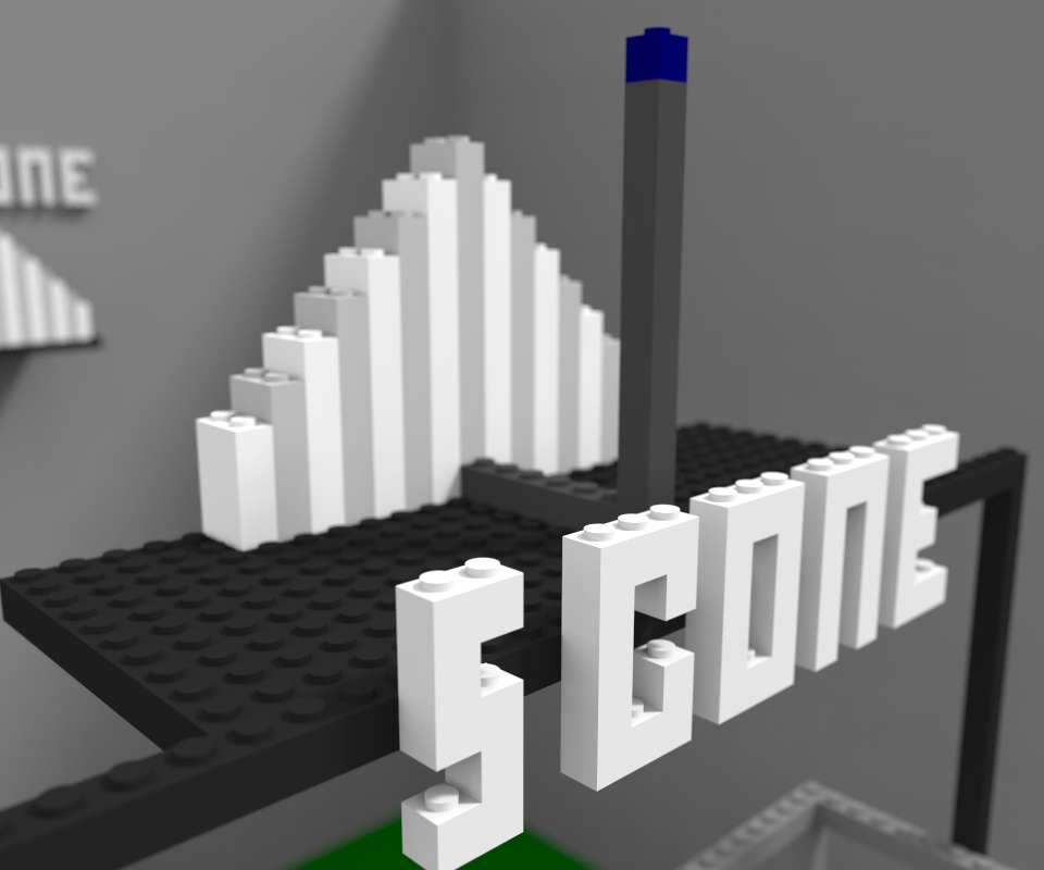 The Lego S-cone. Like the other two cones, the S-cone is composed of various stacks of Lego weights awaiting to be discharged onto the ganglion cell platform awaiting below. The S-cone prefers light of shorter wavelengths, and will drop its biggest stack if light of about 430nm is present.
