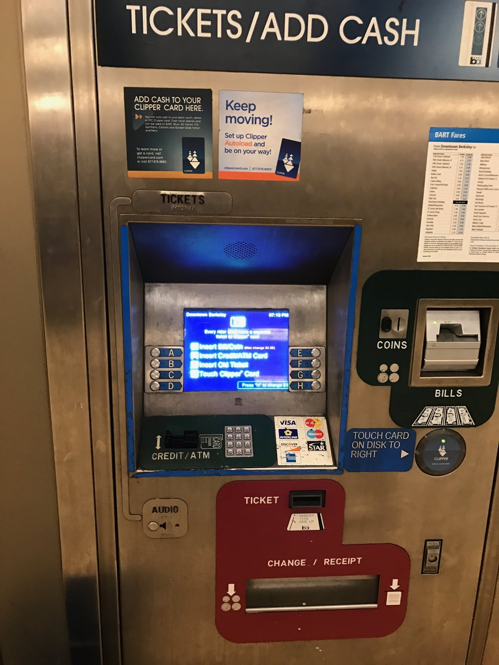 BART Ticket dispensing system